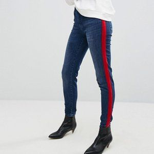 High Waist Jean With Red Velvet Stripe Size 6